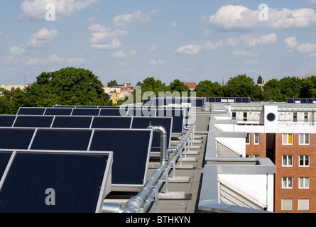 A solar thermal plant in the Brunnenviertel, Berlin, Germany - Stock Photo