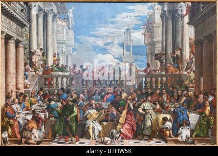 Wedding Feast at Cana Paolo CALIARI VERONESE, Louvre Museum Paris - Stock Photo
