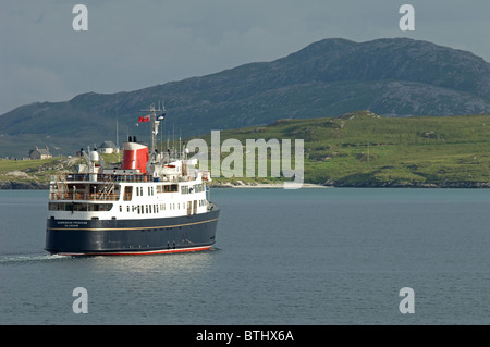 The Small Luxury Cruise ship arriving in Castlebay Isle of Barra, Outer Hebrides, Scotland.  SCO 6681 - Stock Photo