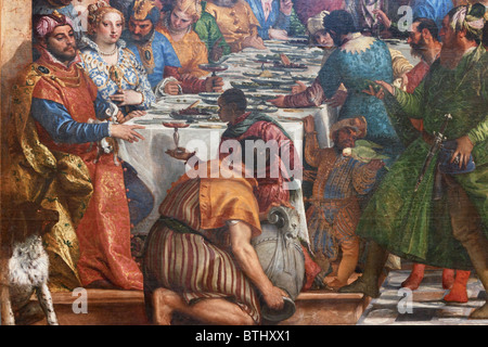 Wedding Feast at Cana by Paolo CALIARI aka VERONESE, bottom left corner, Louvre Museum Paris - Stock Photo
