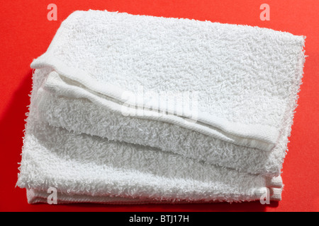 Two white face towels - Stock Photo