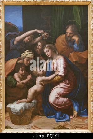 Great Holy Family by RAPHAEL (Raffaello Sanzio da Urbino), c. 1518, Louvre Museum Paris - Stock Photo