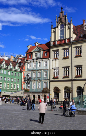 Rynek (Market Square), Wroclaw, Lower Silesia, Poland - Stock Photo