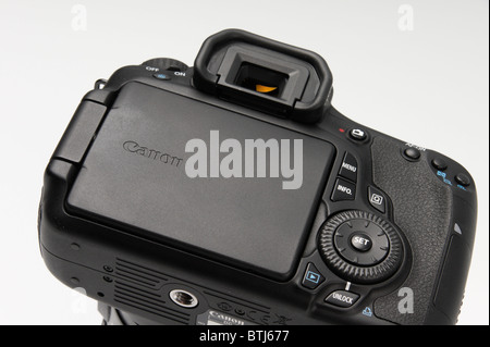 Canon 60D digital single lens reflex camera late 2010 launch - rear LCD screen with folding tilt swivel action - Stock Photo