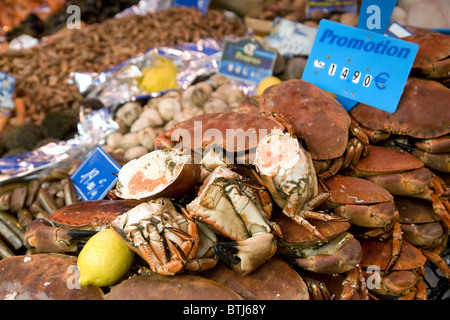 Crabs on a fish stall in the French market town of Coulommiers near Paris,  ile de france France - Stock Photo