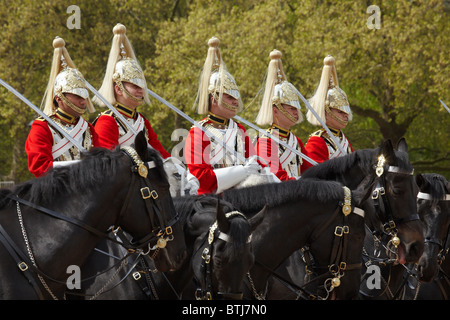 British Household Cavalry (Life Guards Regiment), Changing of the Horse Guards, Horse Guards, London, England, United - Stock Photo