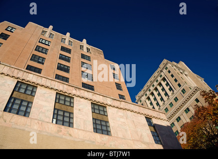 Looking up at architecture in downtown Asheville, North Carolina - Stock Photo