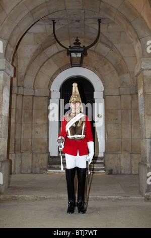 British Household Cavalry (Life Guards Regiment), Horse Guards, London, England, United Kingdom - Stock Photo