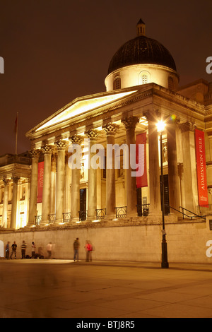 The National Gallery at night, Trafalgar Square, London, England, United Kingdom - Stock Photo