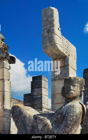 Reclining CHACMOOL figure used as altar in MAYAN ritual sacrafice in CHICHEN ITZA - YUCATAN PENINSULA, MEXICO - Stock Photo