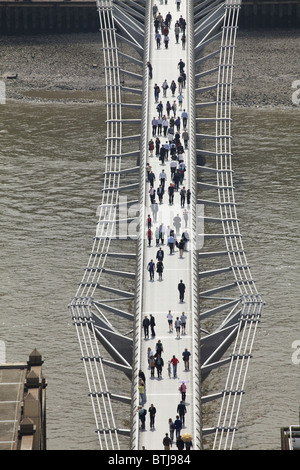 Millennium Footbridge and River Thames, seen from St Paul's Cathedral, London, England, United Kingdom - Stock Photo