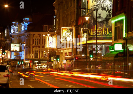 West End Theatres (Queen's, Gielgud, Apollo, and Lyric), Shaftesbury Avenue, Soho, London, England, United Kingdom - Stock Photo