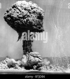 Atomic energy: An explosion of the H-Bomb during testing in the Marshall Islands, 1952. - Stock Photo