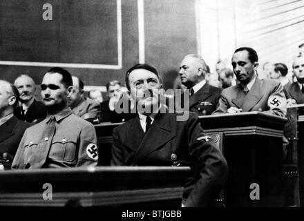 Rudolf Hess and Adolf Hitler during the Reichstag session at which Hitler gave his last warning to the British Empire. - Stock Photo