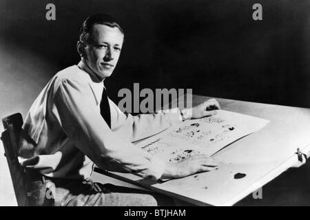 Charles M. Schulz, (1922-2000), American cartoonist and creator of the comic strip 'Peanuts', c. 1952. - Stock Photo