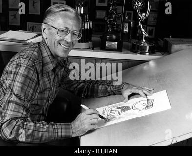 Charles M. Schulz, (1922-2000), American cartoonist and creator of the comic strip 'Peanuts', circa 1970s. CSU Archives/Courtesy - Stock Photo