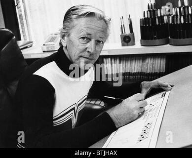 Charles M. Schulz, (1922-2000), American cartoonist and creator of the comic strip 'Peanuts', in his studio in Santa - Stock Photo