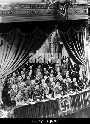 L-R front row: Joseph Goebbels, Rudolf Hess, Hermann Goering, August Von Mackensen, Adolf Hitler, General Werner - Stock Photo