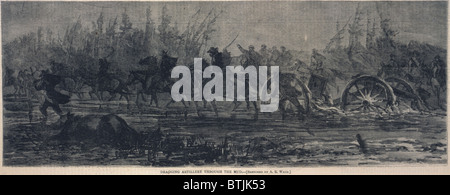 The Civil War. Dragging artillery through the mud, mounted cavalry pull artillery pieces through muddy ground. Engraving - Stock Photo