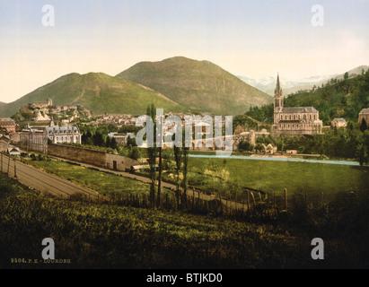 Lourdes, France, photochrom, circa 1890s. - Stock Photo
