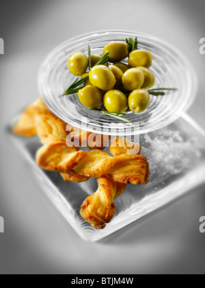 Olives an bread sticks snack - Stock Photo