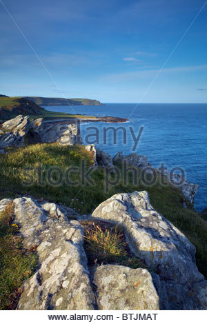 View from Prawle Point over Lannacombe Bay to Start Point, South Devon, England, UK - Stock Photo