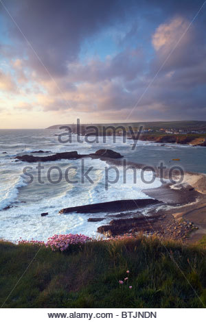 Bude Haven breakwater at high tide with gale force winds, Bude, North Cornwall, England, UK - Stock Photo