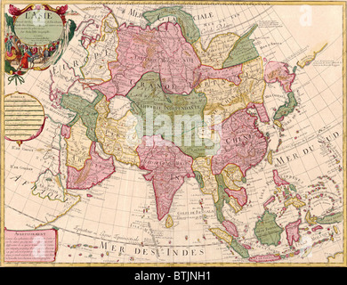1700 french map of asian continent and islands of the east indies central and western