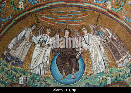 Ravenna. Italy. 6th C AD mosaics depicting Christ as creator of the cosmos, Basilica di San Vitale. - Stock Photo