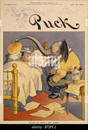 1912 Cartoon 'Sitting up with a sick friend,' commenting on the Republican Party split, in which 'progressive' Theodore - Stock Photo