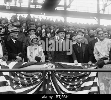 President Calvin Coolidge (1872-33), with wife Grace and Sec. of Treasury Andrew Mellon, opens the Baseball season - Stock Photo