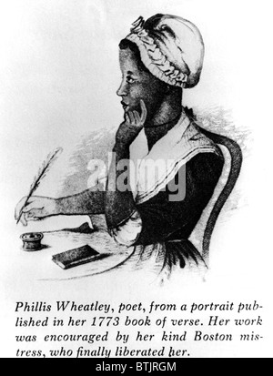 Phillis Wheatley  (1753-1784), a slave that became the first African American to be published. Drawing dated about - Stock Photo