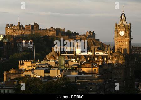 Edinburgh Castle & Balmoral Hotel seen from Calton Hill, Edinburgh, Scotland