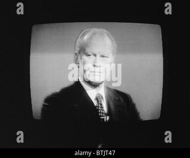 President Gerald Ford (1913-2006), U.S. President 1974-1977, on television during his first presidential debate in Philadelphia, Pennsylvania, photograph by Thomas J. O'Halloran, September 23, 1976.