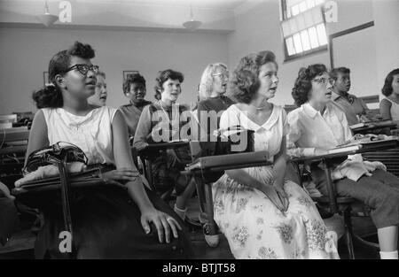 Integrated classroom at Anacostia High School, Washington DC, photograph by Warren K. Leffler, September 10, 1957. - Stock Photo