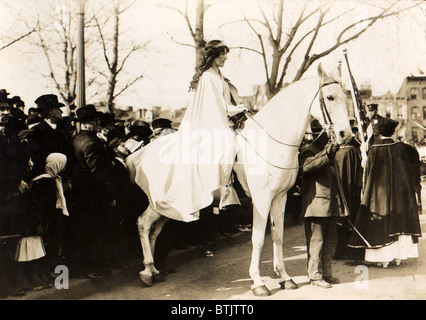 Inez Milholland Boissevain, lawyer, riding astride in the suffrage parade in Washington, D.C., as the first of four mounted heralds, Washington, D.C., March 3, 1913.