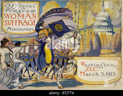 Cover of program for the National American Women's Suffrage Association procession, showing woman, in elaborate attire, with cape, blowing long horn, from which is draped a 'votes for women' banner, on decorated horse, with U.S. Capitol in background, Washington D.C., March 3, 1913.