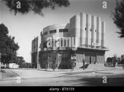 Tel Aviv, Moghrabi theatre, movie picture-house, photograph, 1920-1946. - Stock Photo
