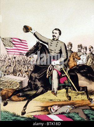 George McClellan (1826-1885) on galloping ahead of his staff and army in a popular print of 1862. - Stock Photo