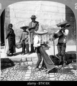 Folk Music. Street musicians, Guanajuato, Mexico, 1906 - Stock Photo