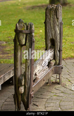 The village stocks Stow on the Wold Gloucestershire UK - Stock Photo