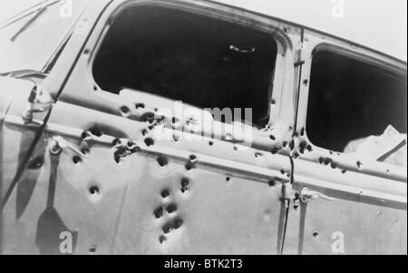 The bullet riddled car in which bank robbers Bonnie and Clyde died at the hands of Texas Rangers and Louisana police - Stock Photo