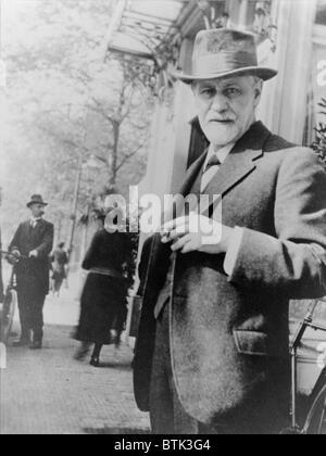 Sigmund Freud (1856-1939), standing on sidewalk outside The Hague, Netherlands, 1920. - Stock Photo