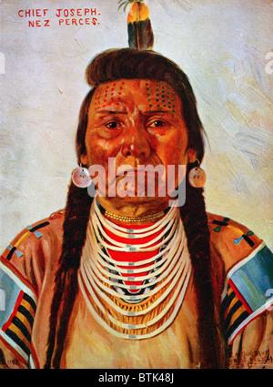 Chief Joseph, Nez Percé chief, head-and-shoulders portrait, facing front] / E.A. Burbank, Nespelem, Wash, color - Stock Photo