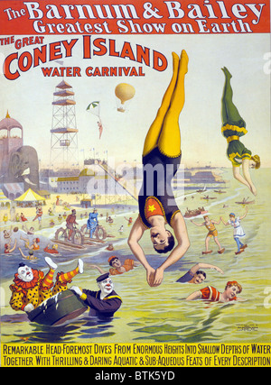 Barnum and Bailey's Great  Water Carnival high divers and clowns performing in the ocean at Coney Island, New York. - Stock Photo