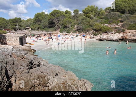 Cala Sa Nau beach. Felanitx. Mallorca Island. Spain - Stock Photo