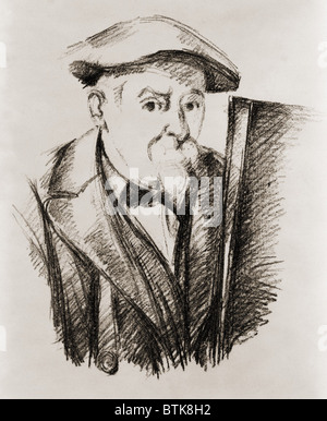 Paul Cezanne (1839-1906), French Post Impressionist painter, in a self portrait at his easel. Ca. 1900. - Stock Photo