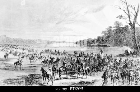 Confederate cavalry unit invading Union territory in Maryland and Pennsylvania, June 11, 1863 - Stock Photo