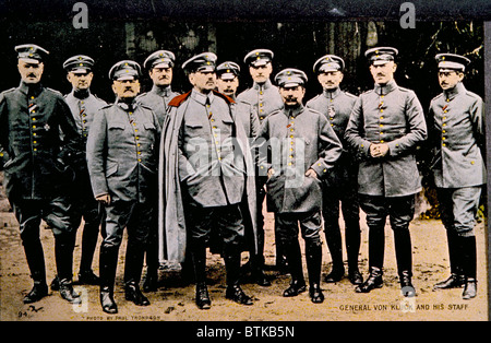 World War I, German General Alexander Von Kluck (with cape), in charge of the campaign in Belgium and France, with - Stock Photo