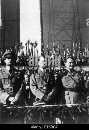 Rudolph Hess, Adolf Hitler, Herman Goering at Tempelhof Airport, Berlin, 1934 - Stock Photo